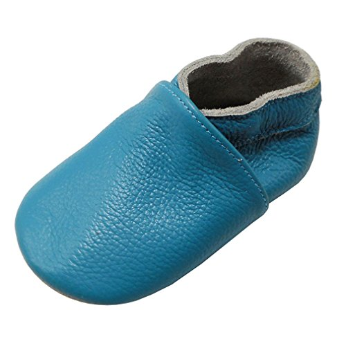 Yang Baby Boys Girls Shoes Crawling Slipper Toddler Infant Soft Leather First Walking Moccs(Sky Blue,12-18 Months)