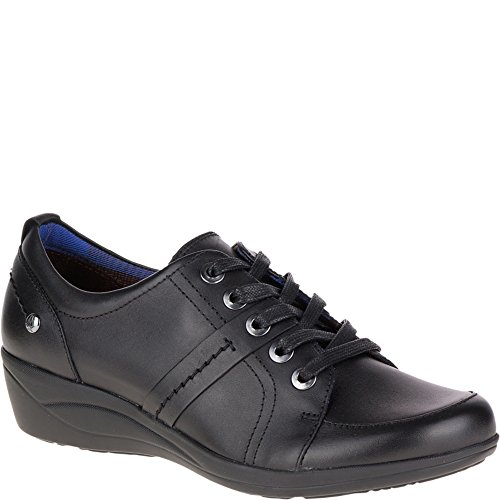 Hush Puppies Women's Champion Oleena Lace-Up Shoe, Black Leather (5.5 M US)