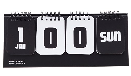 D-Day Calendar, Perpetual Calendar, Table Standing, Cute Illustration, Baby Development Stages (Black) -