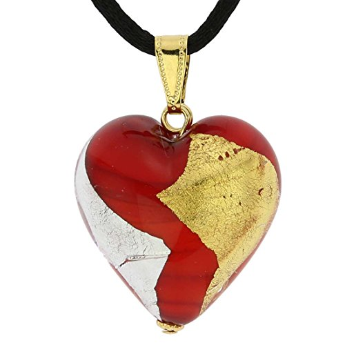 Murano Glass Heart Necklace (GlassOfVenice Murano Glass Heart Pendant - Red Gold and Silver)