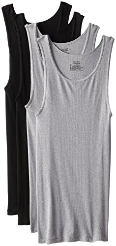 Hanes ComfortSoft Dyed Tank 4-Pack, Black/Grey, Large ()