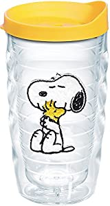 Tervis 1140864 Peanuts - Felt Tumbler with Emblem and Yellow Lid 10oz Wavy, Clear