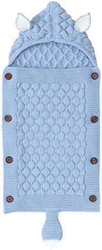 Petyoung 赤ちゃん用ブランケット ニット幼児用毛布 フード付き 0~12ヶ月の赤ちゃん用 新生児 幼児 ベビーカー おくるみ スリープサック US サイズ: Medium カラー: ブルー