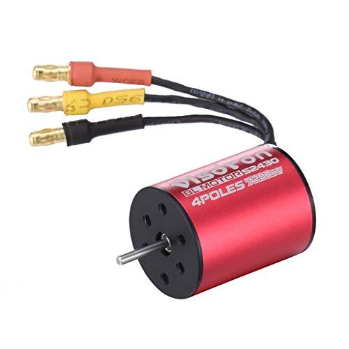 【Profession Brushless Motor】 Mutiple Protection Fully Waterproof Visdron 2430 5800KV/7200KV Sensorless Brushless Motor+25A ESC+Programming Card for 1/16 1/18 RC Cars (Red, 7200KV Motor)