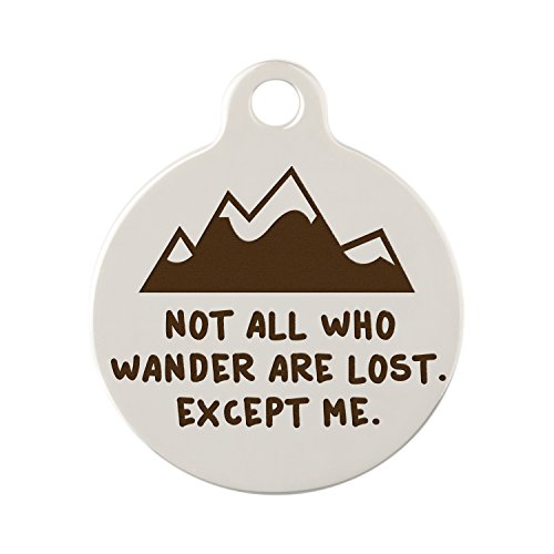 Custom Engraved Not All Who Wander Are Lost Dog Tag by dogIDs - Mountain Design - 1 Inch Diameter Nickel Tag by dogIDS