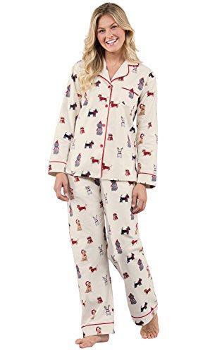 PajamaGram Christmas Dogs Flannel Women's Pajamas, multicolored, XSM (2-4) (Dachshund Christmas Pajamas)