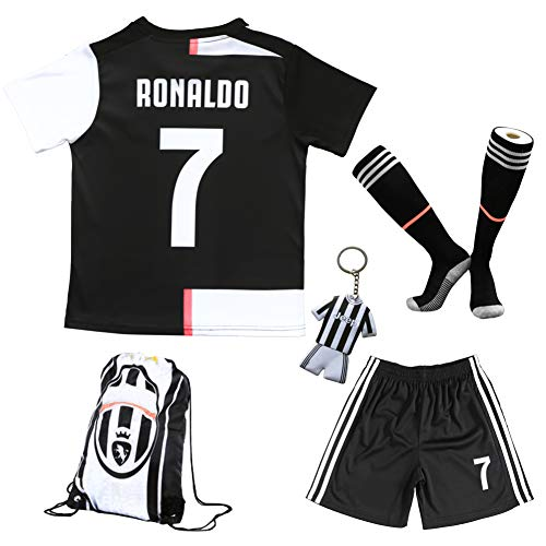 BIRDBOX Youth Sportswear C.Ronaldo Juve 7 Kids Home Soccer Jersey/Shorts Bag Keychain Football Socks Set (9-10 Years)