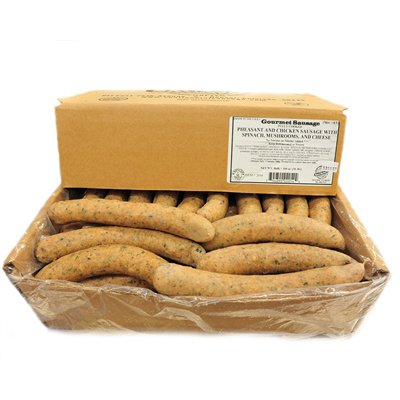 Pheasant & Chicken w/Mushroom, Spinach & Parmesan Sausage Frozen - 4 oz links, 10# Case