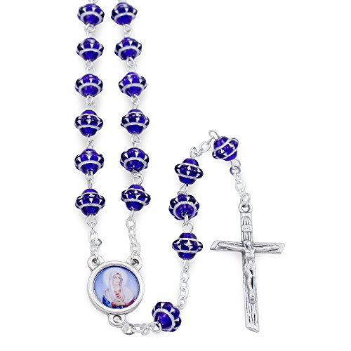 Sacred Heart of Mary Blue Medieval Beads (Heart Rosary Crucifix)