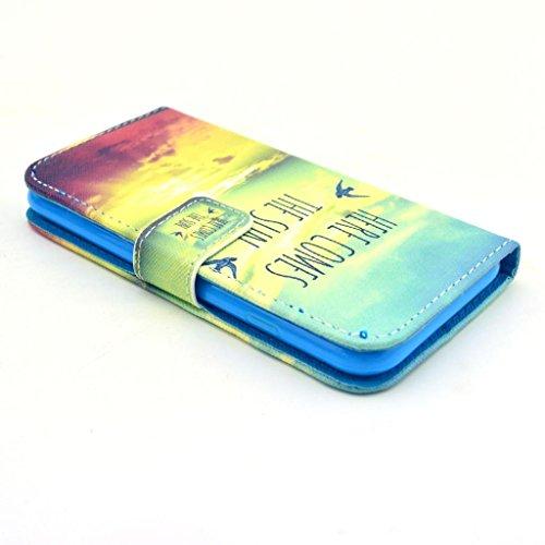 Uming Retro Colorful La caja del teléfono Funda protectora del patrón de la impresión del cuero de colores para Samsung Galaxy S3 I9300 PU del tirón Funda de cuero con soporte Stander del sostenedor d Here comes the sun