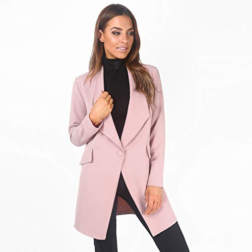 Krisp Women Tailored Oversized Button Long Blazer Coat Jacket [5403-PNK-XL]