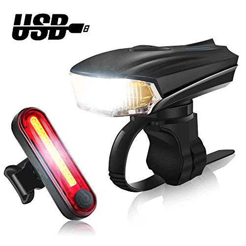 LED Bike Lights Set -OBDKCAN USB Rechargeable 300LM Waterproof Front Headlight and 100LM Tail Light Including 5 Modes Headlight and 4 Modes Taillight-Smart Sensor,Free Mount Brackets Tool