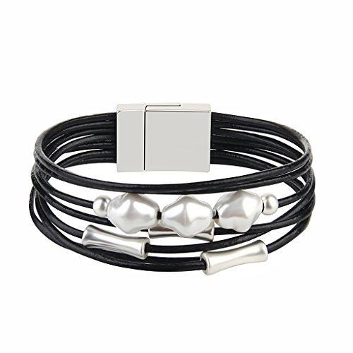 - Jenia Black Leather Wrap Bracelet - Pearl Rope Braided Multi-Strand Bangle - Handmade Jewelry for Women, Teens Girl Gift