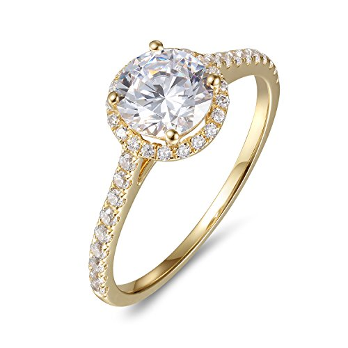 (Lamrowfay 1ct Round Brilliant Cut Solitaire Cubic Zircon CZ Engagement Ring in 14K Gold, 1.80cttw (Yellow-Gold, 8))