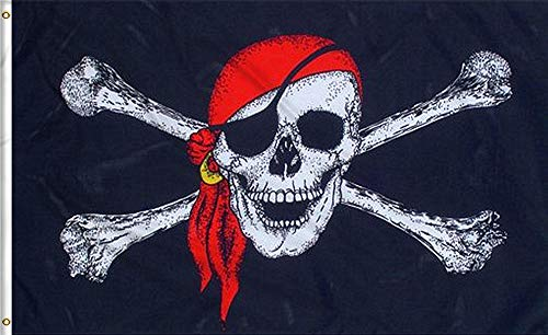 Pirate Jolly Roger Flag - Aimto 3x5 FT Jolly Roger (Red Scarf) Flag - Halloween Flags Bright Colors Anti-Fading Materials - Pirate Flags Polyester Canvas Brass Buttonhole - Quality Assurance