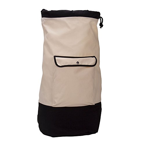 Household Essentials Backpack Duffel Laundry Bag, Cream & Black ()