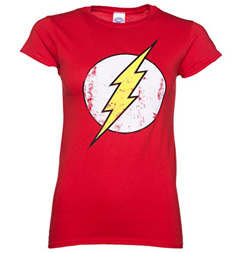 Womens Distressed DC Comics Flash Logo T Shirt - TV Show Tees -