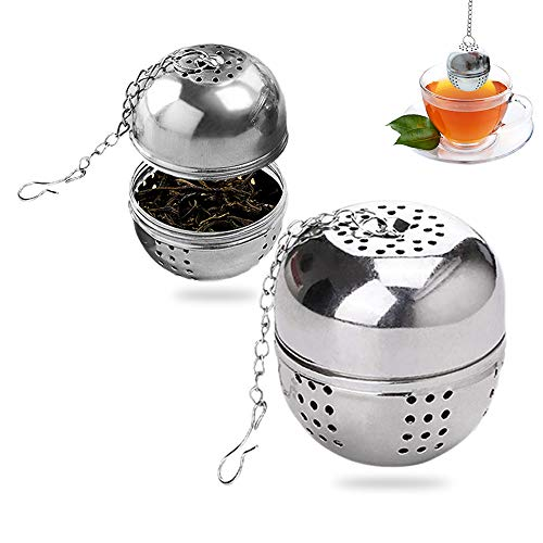 MELARQT Colador de te de 4 cm con cadena, 2 coladores de te de acero inoxidable muy finos, bolas de malla para te suelto y especias