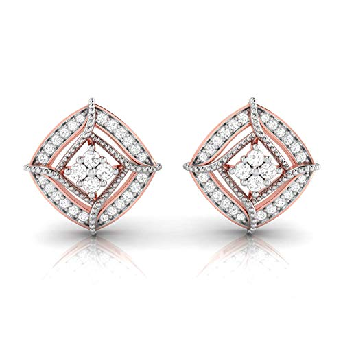 Color Si2 Clarity Lab - Jiana Jewels RoseGold Plated Silver 0.26 Carat (I-J Color, SI2-I1 Clarity) Lab Created Diamond Stud Earrings for Women & Girls
