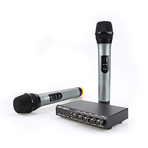 Price comparison product image ARCHEER Bluetooth Wireless Microphone System VHF Dual Chanel Handheld Micorphone Mini Portable Singing Mixer Karaoke Machine for Outdoor Wedding,  Home KTV,  Conference,  Evening Party,  Speech