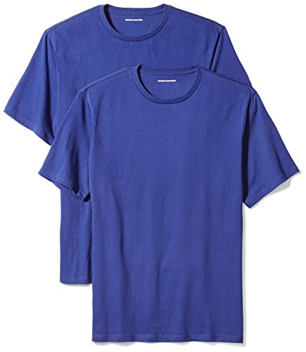 Amazon Essentials Men's 2-Pack Loose-Fit Short-Sleeve Crewneck T-Shirts, Blue, Medium 100 Cotton Essential T-shirt