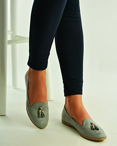 Cucu Fashion 2017 Brand New Womens Tassel Loafers Slip On Casual Ballerina Pumps Flat Shoes Size UK 3-8 Grey h8QhNt4