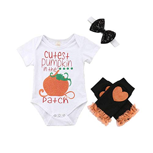 MLCHNCO Baby Girls Halloween Romper Infant Print Pumpkin Bodysuit+Lace Love Leggings+Bowknot Headband Clothes Outfits 3Pcs (80(3-9M))]()