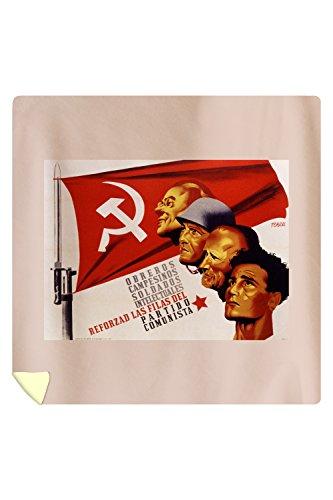 Reforzad las Filas del Partido Comunista Vintage Poster (artist: Renau) Spain (88x88 Queen Microfiber Duvet Cover) by Lantern Press