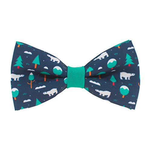 Polar Bear bow tie pre-tied shape christmas pattern, by Bow Tie House (Small)