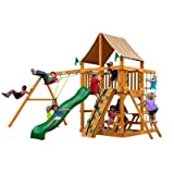 Gorillaplay Sets Home Backyard Playground Chateau II Swing Set with Amber Posts and Sunbrella Weston Ginger Canopy