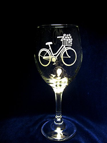 Bicycle with Flower Basket Wine Glasses