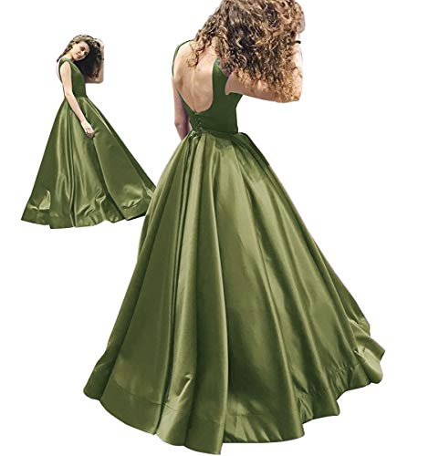 Ball Evening Romantic Long Olive Prom Satin Dresses Dress Ruched GMAR Backless Gown UBFTqwE0U