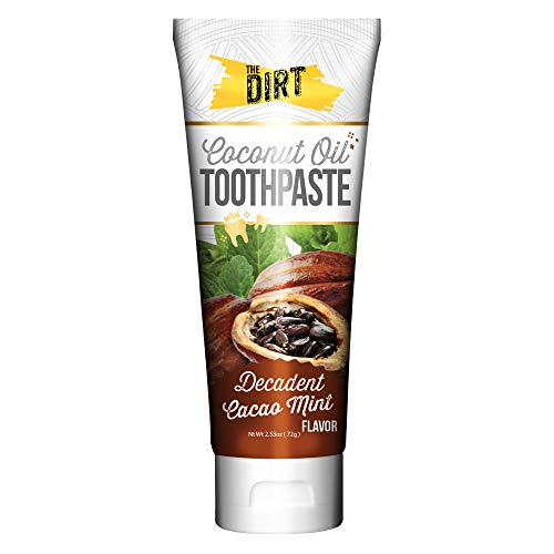 The Dirt Coconut Oil Toothpaste, All Natural with Essential Oils, MCT Oil, Fluoride Free, Cacao Mint, 2.5oz