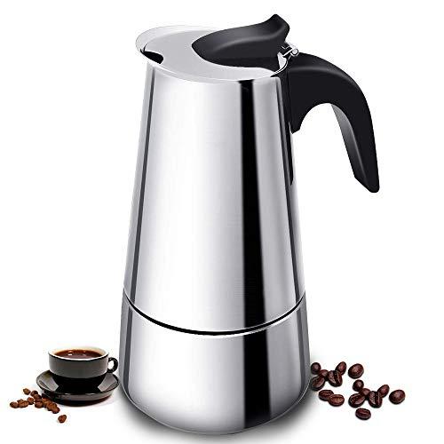 Vinekraft Moka Pot Espresso Pot Stovetop Espresso Maker Stainless Steel Coffee Pot -6 cups/300ml