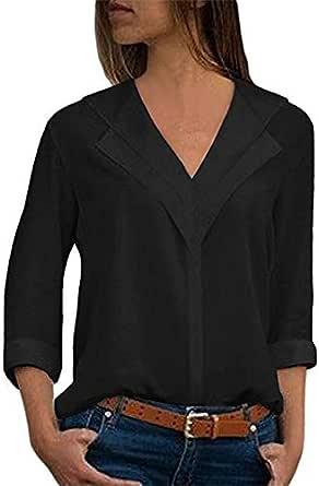 Blusa Mujer Verano Elegante Color sólido Manga Corta Blusas Camisa de Oficina Cuello en v Camiseta de Gasa Tops Casual Fiesta T-Shirt Original tee ...