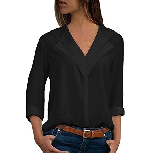 LISTHA V Neck Chiffon Blouse Women T-Shirt Office Ladies Plain Roll Sleeve ()