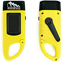 PrimalCamp Hand Crank Solar Powered Rechargeable LED Flashlight: Survival Gear Self Powered Charging Torch & Dynamo - Best for Fishing Boating Hiking Backpack Camping Safety Weather Emergency Pack