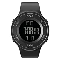 Digital Sports Watch Outdoor Electronic Ultra Thin LED Large Face Military Light Black Stopwatch Alarm Men's Wristwatch 90003 …