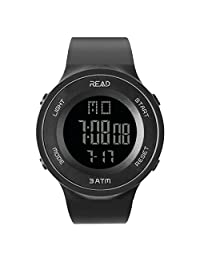 Digital Sports Watch Outdoor Electronic Ultra Thin LED Large Face Military Light Black Stopwatch Alarm  Men's Wristwatch 90003 (Black)