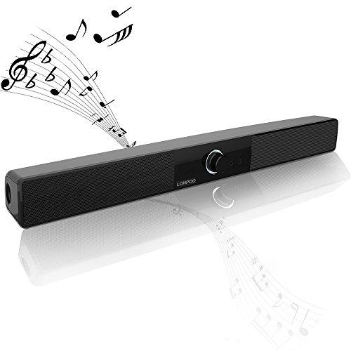 LONPOO 700A Hi-Fi Slim Mini Soundbar 10W USB Powered Speaker with Big Knob AUX Input for Small TV/PC/Laptop/Smartphones