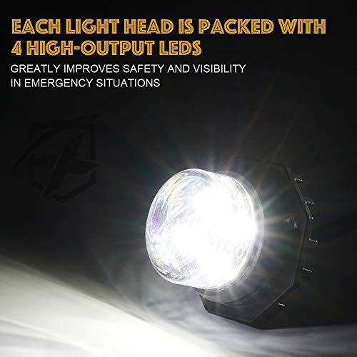Xprite 6 Series White LED Hideaway Strobe Lights Kit 20 Flash Patterns Hazard Warning Light for Trucks, Police Cars, Emergency Vehicles