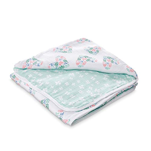 - aden by aden + anais Dream Blanket, 100% Cotton Muslin, 4 Layer Lightweight and Breathable, Large 44 X 44 inch, Briar Rose - Floral Heart