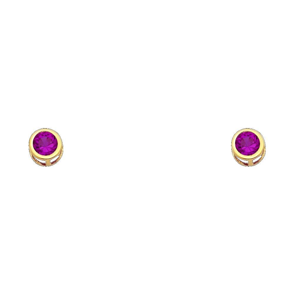 14K Yellow Gold 5mm Round Bezel Setting CZ Stud Earrings