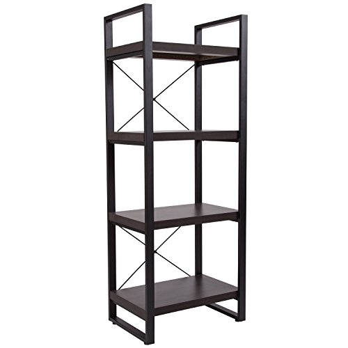 - Flash Furniture Thompson Collection Charcoal Wood Grain Finish Bookshelf with Black Metal Frame