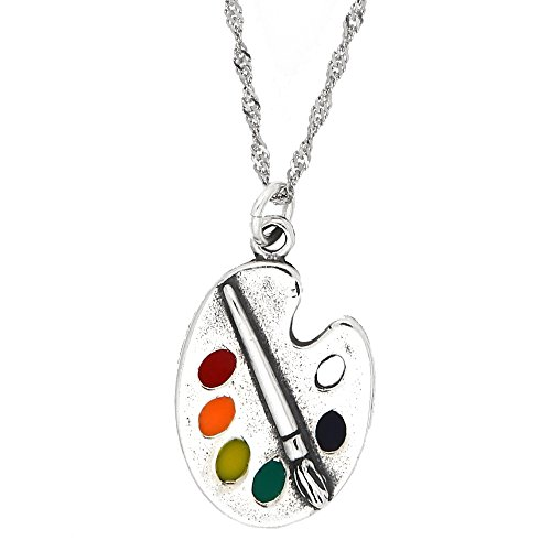 Sterling Silver Oxidized Enamel Artist Paint Palette and Brush with Thin Singapore Necklace (16 Inches) ()