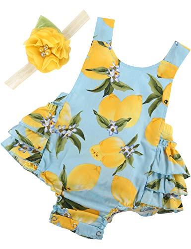 PrinceSasa Baby Girl Clothes Yellow Lemon Floral Ruffles Sum