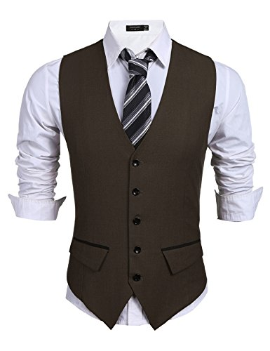 Coofandy Men's Casual Slim Fit Skinny Wedding Dress Vest Waistcoat, Brown, Large