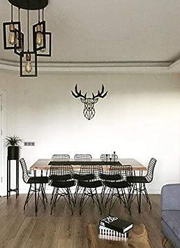 Bekata D/écoration murale en m/étal avec t/ête de cerf g/éom/étrique pour maison M/étal chambre /à coucher bureau Small Size: 27.55/'/' x 27.55/'/' 70 cm x 70 cm salon