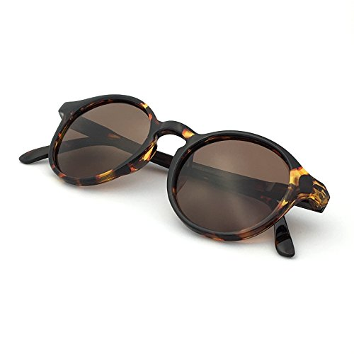 J+S Hali Retro Round Cat Eyes Sunglasses, Polarized, 100% UV protection, Spring Hinged (Tortoise Frame/Brown Lens)