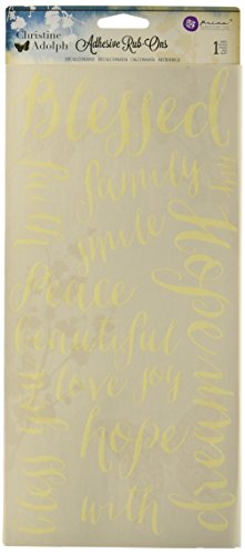 """Prima Marketing 971342 Blessed Words Christine Adolph Adhesive Rub-Ons, 5.5"""" by 12"""", Yellow"""